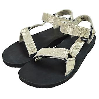 Teva Womens originele universele lederen metallic open teen casual sport sandalen