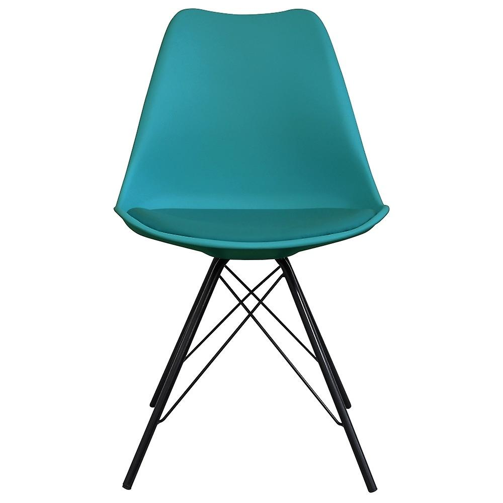 Fusion Living Eiffel Inspired Teal Plastic Dining Chair With Black Metal Legs