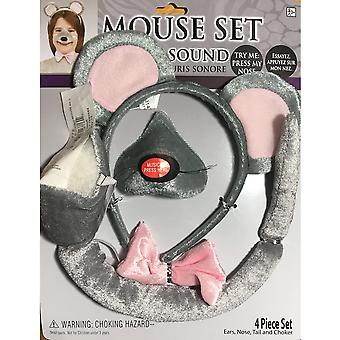 Mouse Rat Animal Set Ear Nose Tail Book Week Boys Girls Costume Kit  with Sound