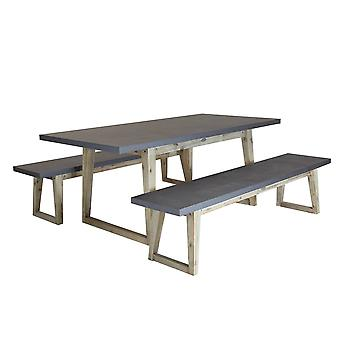 Charles Bentley Fibre Cement and Acaica Wood Industrial Indoor Outdoor Dining Set - Including Table & 2 Benches - Grey & Natural White Washed Wood