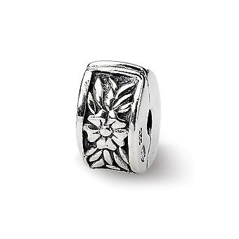 925 Sterling Silver Hinged Flower Polished Antiqued Antiqued Acabamento Reflections Floral Clip Charm Pinof Jewel Jewel