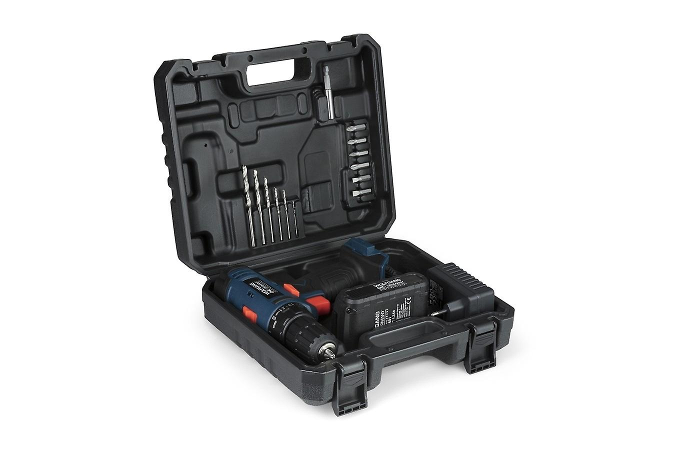 WOLFGANG Cordless Screwdriver 20V, Cordless Drill Set Cordless Drill Set, 10mm, Li-ion Battery 1500mAh, 1H Quick Charge, LED Function, Max Torque 26Nm, 21+1 Steps, With Drill Set, Bitset and Case