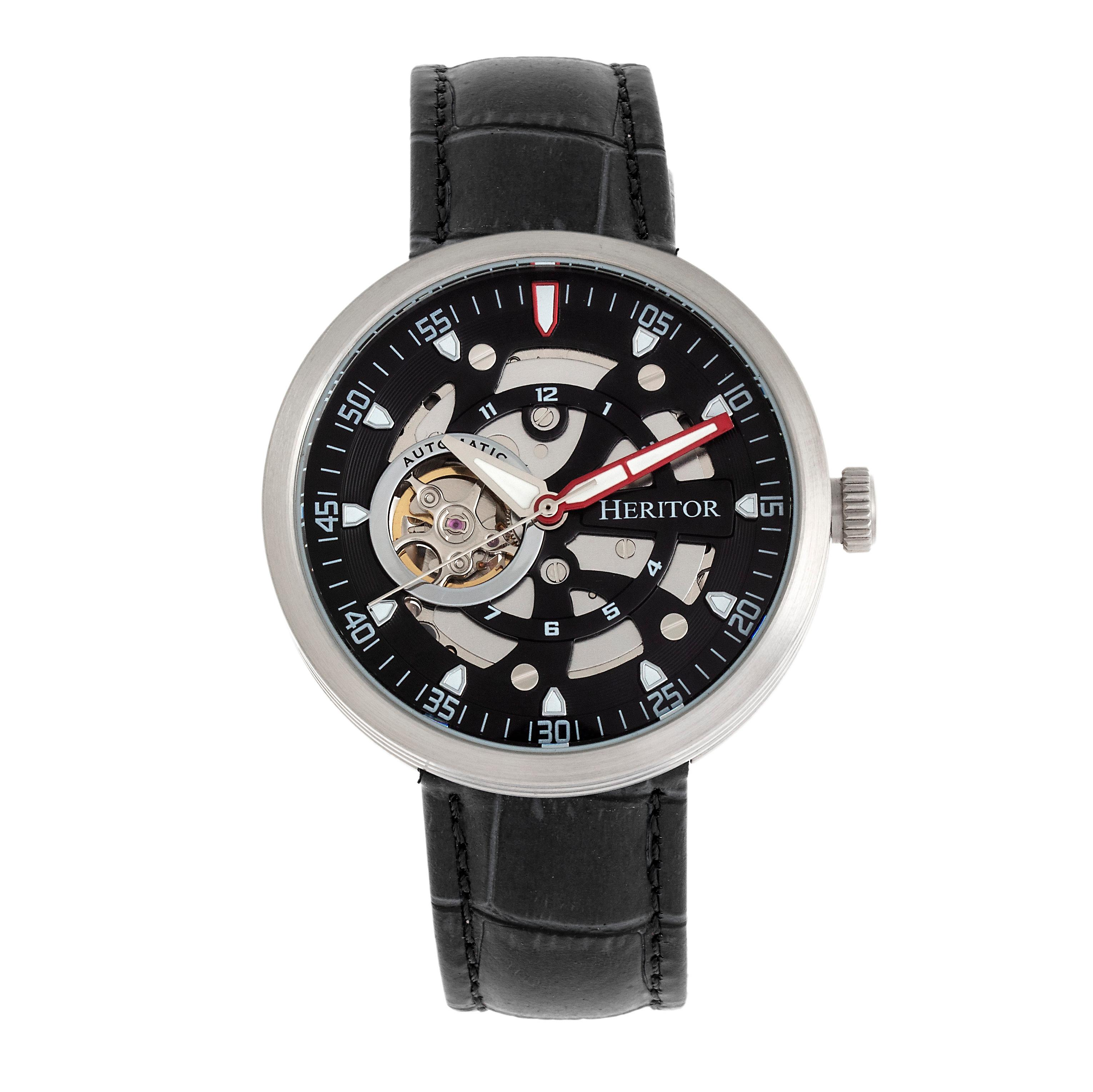 Heritor Automatic Jasper Skeleton Leather-Band Watch - Silver/Black