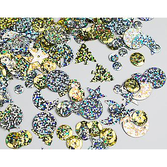 LAST FEW - 20g Assorted Gold & Silver Holographic Sequins with Holes for Pins