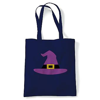 Witch Hat Tote | Halloween Fancy Dress Costume Trick Or Treat | Reusable Shopping Cotton Canvas Long Handled Natural Shopper Eco-Friendly Fashion