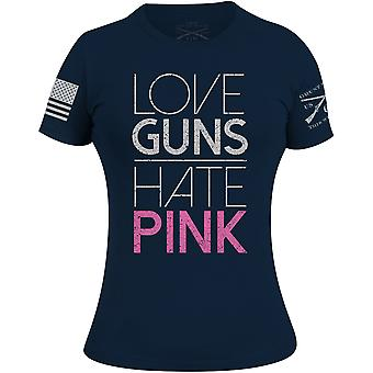 Grunt Style Donne's Amore Guns Hate Pink 2.0 T-Shirt - Marina