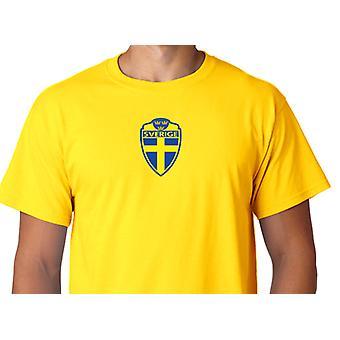 Suécia logotipo camisa amarela Suécia em algodão
