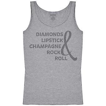 Diamonds Lipstick Champagne Rock & Roll - Womens Tank Top