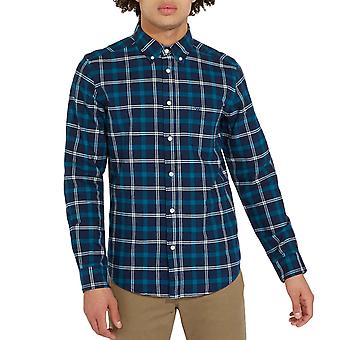 Wrangler Mens One Pocket Cotton Button Down Checked Long Sleeve Shirt Top - Blue
