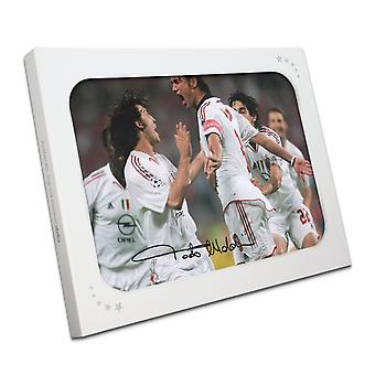 Paolo Maldini Signed AC Milan Photo: Champions League Goal In Gift Box