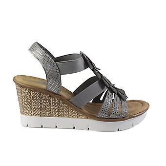 Rieker 65505-42 harmaa naisten Strapy kiila korko sandaalit