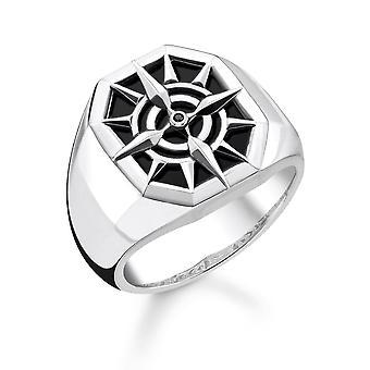 Thomas Sabo Sterling Silver Thomas Sabo Black Compass Signet Ring TR2274-641-11