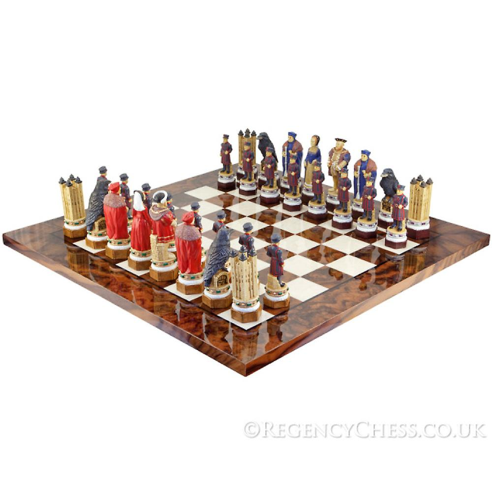 The White Tower Painted Italian Briar Chess Set