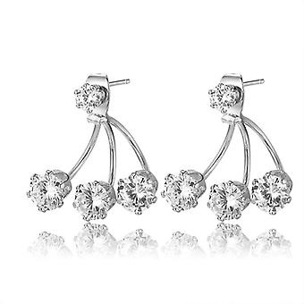 18k white-gold plated double sided triple studs earrings