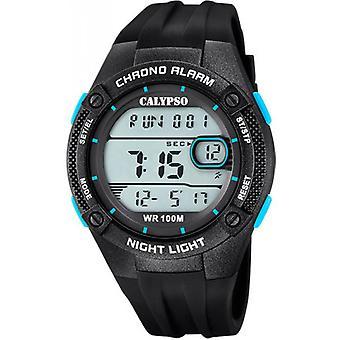 Klocka digitalt för MAN K5765-1 Calypso - 46MM case svart urtavla LCD push Blues mannen svart harts armband