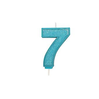 Culpitt Blue Sparkle Numeral Candle - Number 7 - 70mm