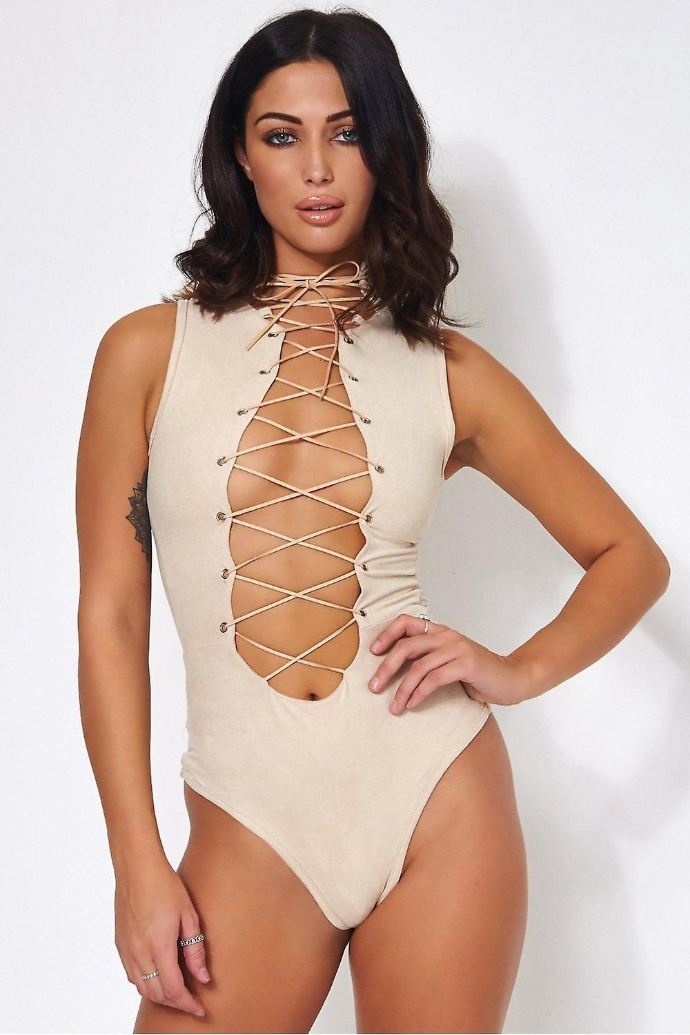 Tito Suede Lace Up Bodysuit