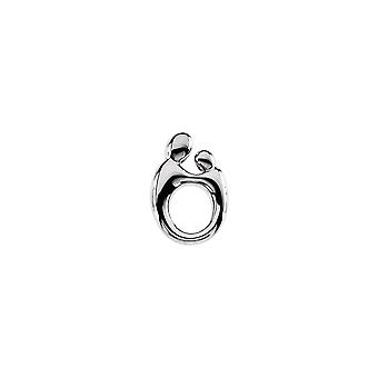 14k White Gold Mother And Child Small Pendant 14.5 X 9.75mm - 1.3 Grams