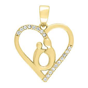 925 Sterling Prata Amarelo Cúbico Zirconia Mãe Coração Infantil 2.11gm Womens Charm Pendant - 2.1 Gramas