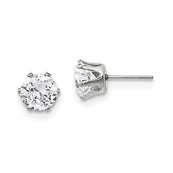 Ruostumaton teräs kiillotettu 8mm pyöreä CZ Cubic Zirkonia Simuloitu Diamond Stud Post korvakorut korut lahjat naisille