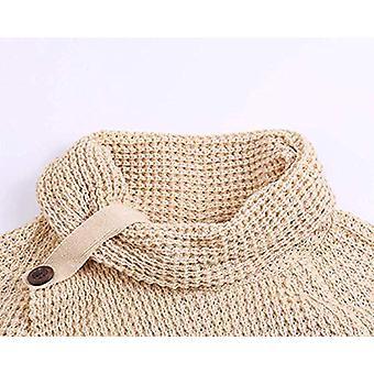 Women's Chunky Knit Turtle Cowl Neck Asymmetric Hem Wrap, Beige, Size 16.0