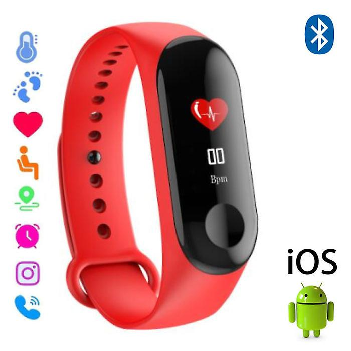 Stuff Certified® Original M3 Smartband Fitness Sport Activity Tracker Smartwatch Smartphone Watch OLED iOS Android iPhone Samsung Huawei Red