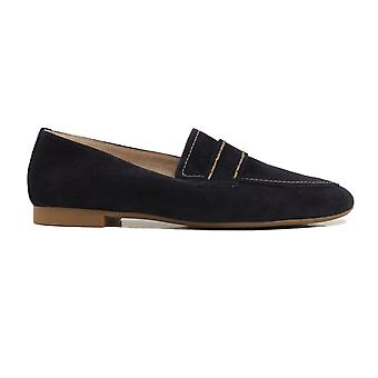 Paul Green 2504-16 Navy Suede Leather Womens Slip On Loafer Shoes