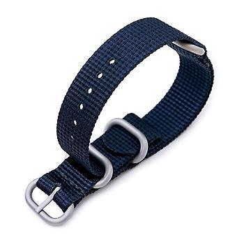 ストラップコード n.a.t.o 時計の革紐のミルタット 18mm 3リングのズールー軍用時計の革紐3d織りのナイロン腕章 - ネイビーブルー、ブラシをかけられたハードウェア