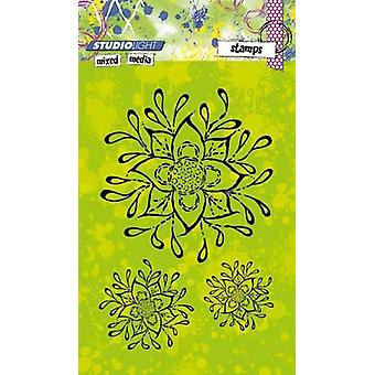 Studio kevyt sekatekniikka A6 postimerkkejä-kukkia
