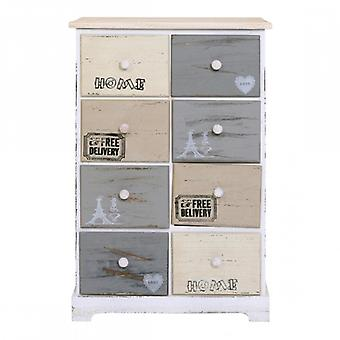 Furniture Rebecca Mobile Chest Shabby Wood 8 Multicolored Drawers 71x48x30