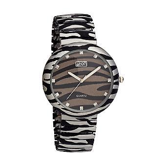 Eton reloj de moda para mujer, negro / gris cebra impresión pulsera de expansión 3117J-ZB