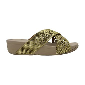 FitFlop Womens Lulu Wicker Peep Toe Casual Slide Sandals