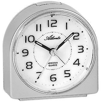 Atlanta 1932/19 alarm clock quartz analog silver quietly without ticking with light Snooze