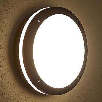 Biard Black Round Outdoor Bulkhead Wall Security Light - IP54 Garden Patio Porch