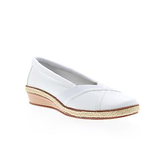 Grasshopper Misty Wedge  Womens White Canvas Slip On Loafer Flats Shoes