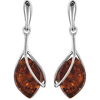 Orton West Amber diamant vorm Drop Oorbellen - zilver/bruin