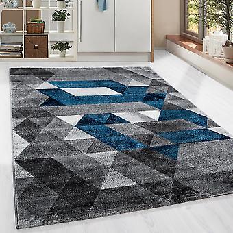 Shortflor Designer Rug Triangle Pattern Living Room Rug Turquoise Gris fondu