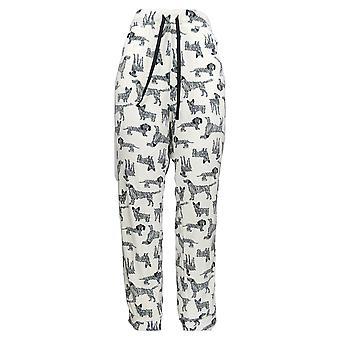 Cuddl Duds Women's Pajama Pants Ultra Plush Velvet Fleece White A369296