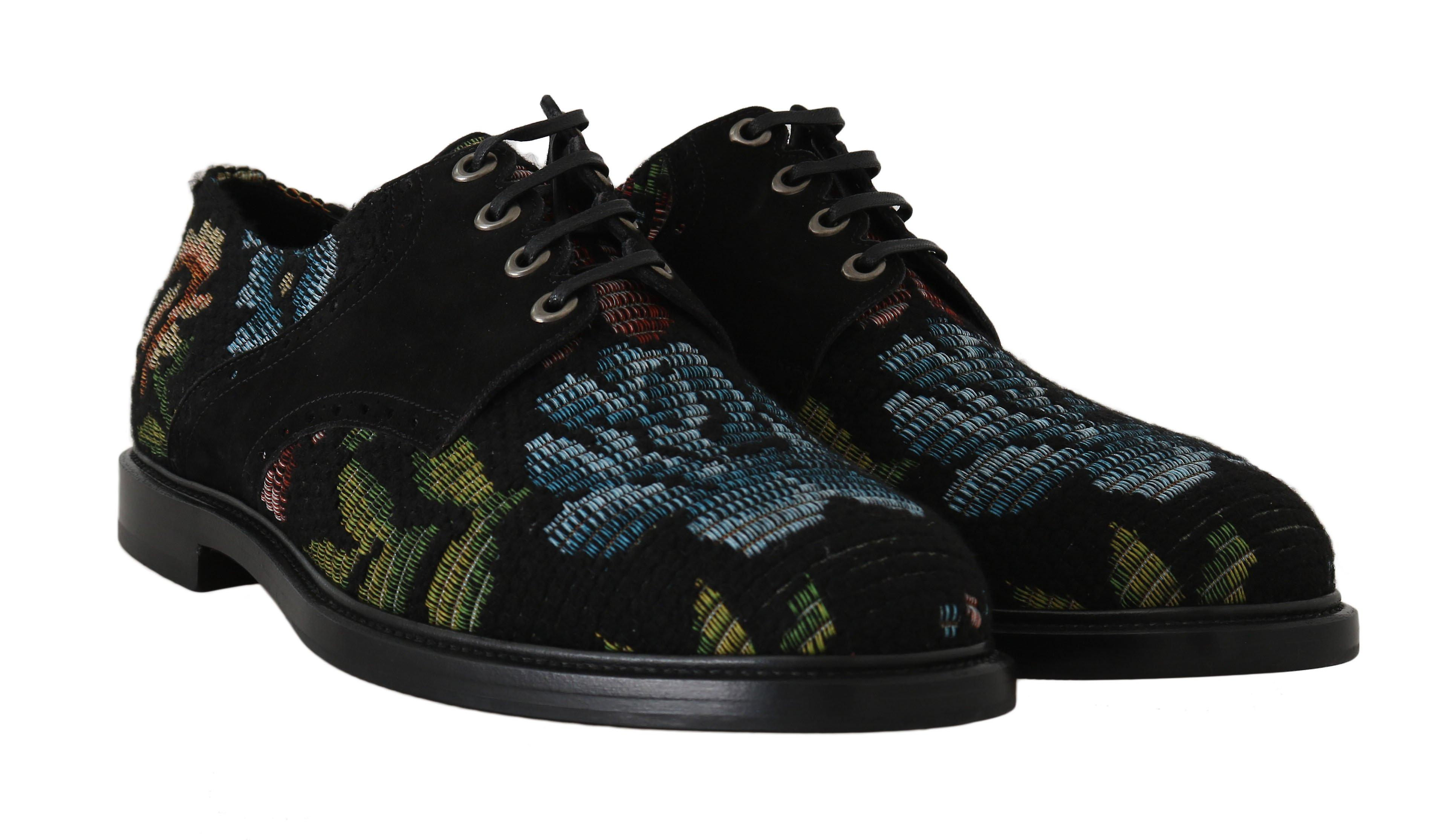 Dolce & Gabbana Black Floral Brocart Derby Laceups Chaussures MV1787-1