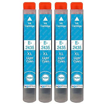 4 Light Cyan Ink Cartridges to replace Epson T2435 (24XL Series) Compatible/non-OEM from Go Inks