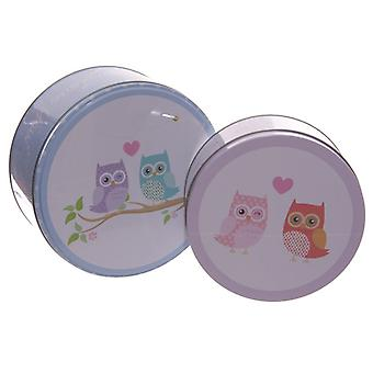 Set of 2 Circular Tins - Love Owls Design