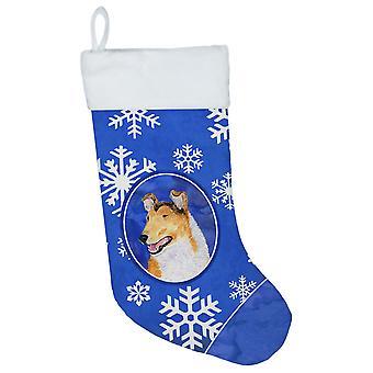Carolines Treasures  SS4608-CS Collie Smooth Winter Snowflakes Christmas Stockin