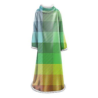 YANGFAN Plush Sleeved TV Throws Wrap Robe Plaid Blanket