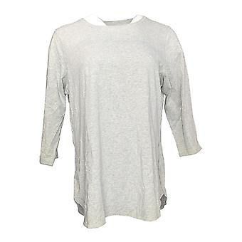 Denim & Co. Women's Top Active 3/4-Sleeve Back Keyhole Gray A307534