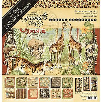 "Graphic 45 Deluxe Collector's Edition Pack 12""X12"" - Safari Adventure"