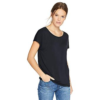 Daily Ritual Women's Jersey Short-Sleeve Boat Neck Shirt, Navy,Large