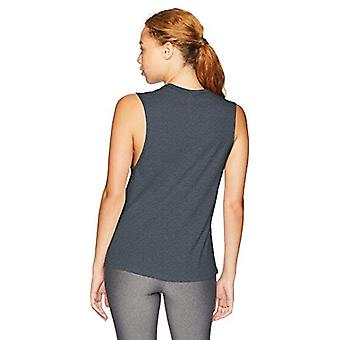 Brand - Core 10 Women's Relaxed Fit Cotton Blend Gym Muscle Sleeveless Tank, Dark Grey Heather, Small