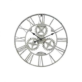 Rebecca Muebles Reloj A pared Metal Engranajes Gris Industrial 70x70x4