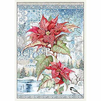 Stamperia Reispapier A3 Poinsettia rot