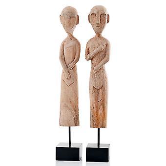 """3.5"""" x 3.5"""" x 22.5"""" Gray African Museum Figures Set of 2"""